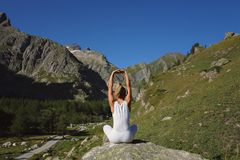Woman stretching and yoga stock image