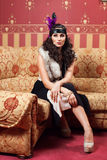 The woman in strict clothes in a retro style. Royalty Free Stock Photos