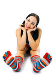 Woman in strip sock Stock Photo