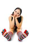 Woman in strip sock Stock Photo