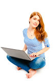 Woman in striped blouse for laptop Royalty Free Stock Images