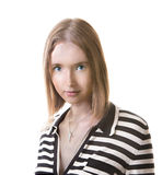 Woman in striped dress. Portrait of young woman in striped dress Royalty Free Stock Photos