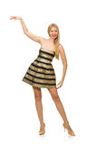 The woman in striped gold and black dress isolated on white Royalty Free Stock Photos