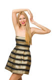 The woman in striped gold and black dress isolated on white Royalty Free Stock Image