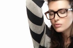Woman in Striped Jersey Holding her Hair. Cool Trendy Eyewear Stock Image
