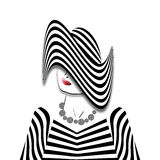 Woman in a Striped Outfit Stock Photography