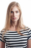 Woman in striped shirt Royalty Free Stock Photography