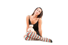 Woman in striped stockings Stock Image