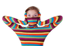 Woman in striped sweater Stock Image