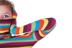 Woman in striped sweater Royalty Free Stock Images