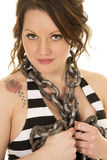 Woman with striped tank and tattoo chain around neck close Stock Photography