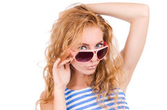 Woman in striped vest Royalty Free Stock Image