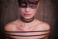 Woman with stripes Stock Image