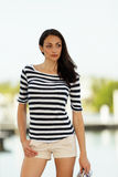 Woman in stripes Royalty Free Stock Photos