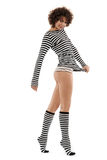 Woman in stripy clothes. Happy woman in stripy clothes royalty free stock photos