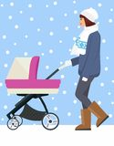 Woman with stroller going for a walk in a during lovely winter.young mother pushing baby trolley stock illustration