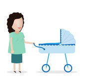 Woman with stroller Stock Photo