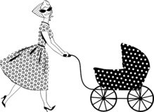 Woman with a stroller royalty free stock photos