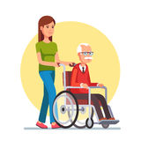 Woman strolling with elder man in wheelchair. Young woman social worker strolling with elder grey haired man in wheelchair. Flat style vector illustration Royalty Free Stock Photography