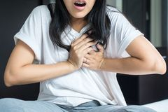 Woman with strong chest pain and hands touching her chest,Heart attack symptom. Asian woman with strong chest pain and hands touching her chest,Heart attack stock image
