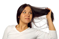 Woman with strong hair Royalty Free Stock Photo