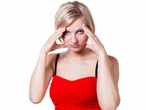 Woman with strong headache Stock Image