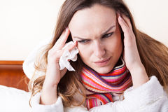 Woman with strong headache Royalty Free Stock Photos