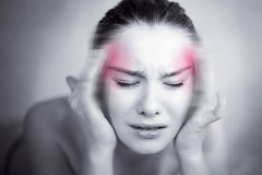 Woman with strong migraine Royalty Free Stock Image