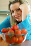 Woman with strowberry stock photos