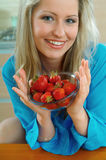 Woman with strowberry Royalty Free Stock Photography