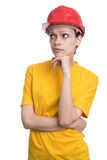 Woman structural engineer in red hard helmet Stock Image