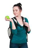 Woman Student with Apple. Beautiful woman college student with an apple Royalty Free Stock Images
