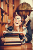 Woman student in college library Stock Photography