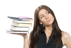 Woman student hold books, textbooks Royalty Free Stock Image