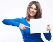 Woman student hold white blanc card  on white back Royalty Free Stock Image
