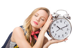 Woman student missing deadlines isolated on white Stock Photography