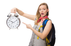 Woman student missing deadlines isolated on white Stock Images