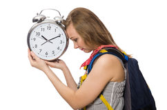 Woman student missing deadlines on white Stock Photo