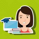 Woman student pc books. Illustration eps 10 Royalty Free Stock Images