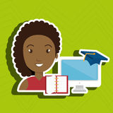 Woman student pc books. Illustration eps 10 Stock Photography