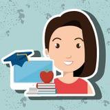 Woman student pc books. Illustration eps 10 Royalty Free Stock Image