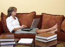 Woman student researching Stock Image