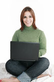 Woman student sitting with laptop Royalty Free Stock Images