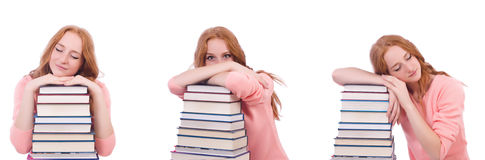 The woman student with stacks of books Royalty Free Stock Photo