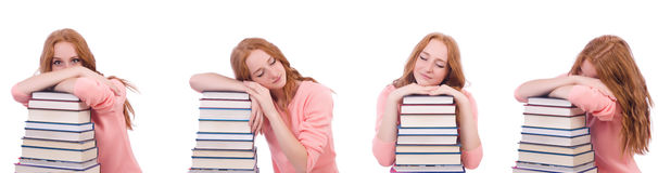 The woman student with stacks of books Stock Photos
