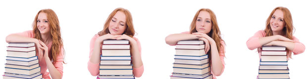 The woman student with stacks of books Royalty Free Stock Images