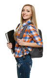 Woman student standing with backpack holding folder. Smiling college university student woman standing with backpack holding folder isolated on white background Stock Image