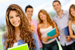 Woman with students Stock Image