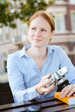 Woman Studies Photography as a Hobby Stock Image