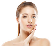 Woman studio portrait beautiful close-up with healthy skin happy Stock Photos